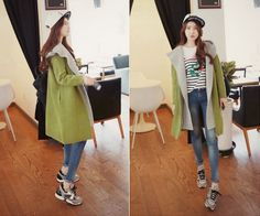 Hooded Two Tone Cardigan