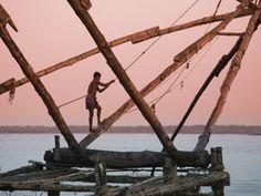 Les filets de pèche traditionnels à Fort Cochin, première étape de notre ballade en Inde du Sud