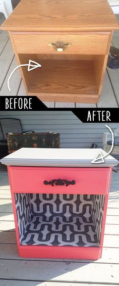 DIY Furniture Makeovers - Refurbished Furniture and Cool Painted Furniture Ideas for Thrift Store Furniture Makeover Projects | Coffee Tables, Dressers and Bedroom Decor, Kitchen | Color and Wallpaper Night Desk Revamp | http://diyjoy.com/diy-furniture-makeovers #thriftstorefurniture #refurbishedfurniture #bedroomfurniture #diyfurnitureikea #kitchenmakeovers #paintedfurniturecolors