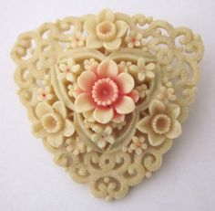 Antique Jewelry Vintage Jewelry Carved Celluloid by annswhimsey, $49.99