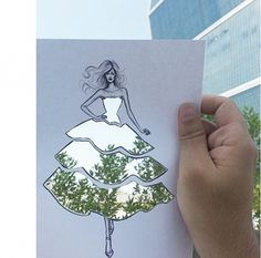 Fashion illustrator and architect Shamekh Bluwi uses the world around him, including landscapes and nature, to fill in his unique fashion illustrations on Instagram.