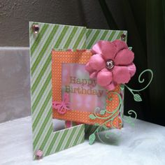 Pink and Green butterfly birthday flip it card~AS (Sizzix flip it die, Cheery Lynn die, Martha Stewart butterfly punch)