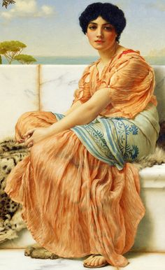 Details from In the Days of Sappho by John William Godward 1904 oil on canvas Getty Museum John William Godward, John William Waterhouse, Lawrence Alma Tadema, Getty Museum, Pre Raphaelite, Classical Art, Renaissance Art, Italian Renaissance, Art Plastique