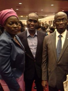 Angelle Kwemo of Believe in Africa, Fidelis Anosike of Daily Times Nigeria, and Cote d'Ivoire Ambassador to the US, Daouda Diabate