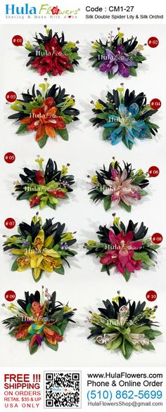 Tropical Hawaii Flowers Hair Clip by HULA FLOWERS ************Sharing And Made with Aloha************ This Flower Hair Clip is composed of: Silk Black Spider Lily, Silk Dendrobium Orchids, Silk Leaves. All man-made fiber materials. Built on a silver metal hair clips. Total size approx.