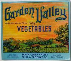 GARDEN VALLEY Vintage San Jose Vegetable Crate Label