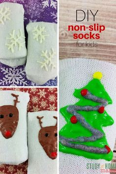 Make your very own non-slip socks with this easy tutorial for DIY Non-Slip Socks for Kids. Avoid the bumps and bruises that come with slippery floors and winter weather. Easy puffy paint designs and custom kids clothes on Study At Home Mama. Crochet Slippers, Crochet Toys, Crochet Baby, Puffy Paint Designs, Non Slip Socks, Kids Poncho, Kids Study, Toddler Gifts, Crochet Projects