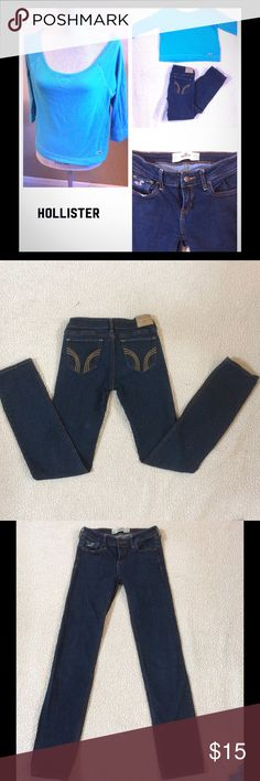 Hollister jean and top set Hollister Jeans, size 3 w26 L33 and a size small quarter inch sleeve blue top. Hollister Jeans