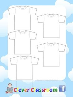 "Blank T-shirt Template - PDF File    1 page, printable teacher's resource.    You may have seen Clever Classroom's 1-50 Hang the t-shirts and loved the cute template.  This could be a cute project to start the school year with.  I have seen classrooms do a bulletin board that says "" Preschool Fits Us to a T.""  Really cute."