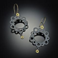 Lacy Earrings: Dahlia Kanner: Gold & Silver Earrings - Artful Home