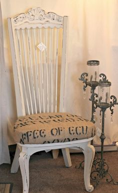 Awesome new chair covered with a coffee sac at The Shabby Cottage