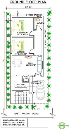 2 BHK floor plans of 24 x 60 के लिए इमेज परिणाम 2bhk House Plan, Narrow House Plans, Model House Plan, Simple House Plans, House Layout Plans, Duplex House Plans, Bedroom House Plans, House Floor Plans, The Plan
