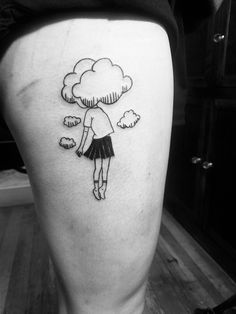 By Laura Matzick of Moscow Tattoo Company: Girl with her head in the clouds tattoo.