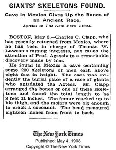 Giants Skeletons found 4 May 1908