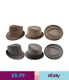 Hats Elegant Mens Brown   Black Fedora Tilby Hat Cap Faux Leather Lined   ebay  . SombrerosSombrero ... 974263bbe30f