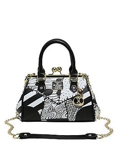 NBC Patchwork Kisslock Satchel ~ Sally's outfit gets a Jack twist with this adorable kisslock handbag! The black and white faux leather patchwork bag has gold tone hardware including a gold and black metal Jack head and bowtie, black faux leather rolled handles and an optional black faux leather and gold chain crossbody strap. Inside are two pouch pockets and a zipper pocket.