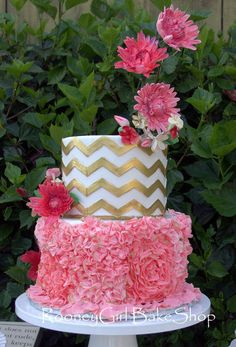Chevrons, Frills, & Dahlias Wedding Cake