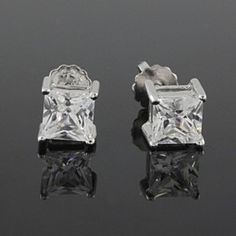 3.33 Ct Princess Cut D/VVS1 Diamond Stud Earrings Screw Back in White Gold Over by JewelryHub on Opensky