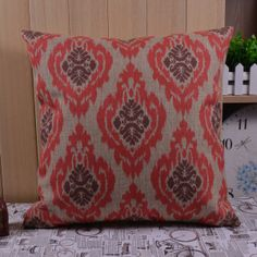 45cmx45cm Ikat geometry Red Ikat decorative by SnowLittleShop, $16.00