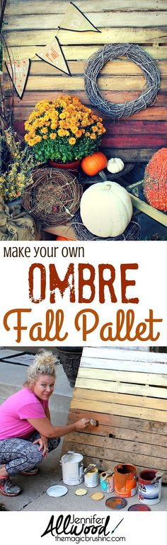 I am convinced that pallet projects for your front porch are one of the easiest, cheapest ways to add a ton of color to your home and make a huge statement! Here's how to paint your own Ombre Fall Pallet. More DIY projects and painting tips at theMagicBru Pallet Home Decor, Diy Pallet Projects, Pallet Ideas, Pallet Porch, Diy Porch, Wood Projects, Diy Fall Wreath, Fall Diy, Pallet Painting