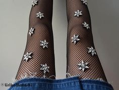 Embroidered Crystal Fishnets