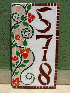 Número vertical em mosaico para residência (18x34cm) Mosaic Garden Art, Mosaic Art, Mosaic Tiles, Mosaic Crafts, Mosaic Projects, Projects To Try, House Number Plaque, House Numbers, Christmas Images