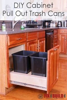Kitchen Cabinet Remodel Build a DIY Pull Out Trash Can in a Kitchen Cabinet - Convert any kitchen base cabinet into a DIY Pull Out Trash Can Drawer. Don't buy expensive hardware, build this garbage bin holder yourself! Kitchen Cabinets Upgrade, Diy Cabinets, Kitchen Cabinetry, Diy Kitchen Storage, Kitchen Organization, Organization Ideas, Storage Ideas, Creative Storage, Budget Storage