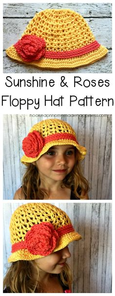 This Sunshine & Roses Floppy Hatisbright and beautiful and the perfect addition to any girl's summer closet. The hat is made with a V Stitch and the stitch combined with the bright yellow reminded me of sun rays. The cotton yarn makes it a great summer hat. Not only is it light and airy, but it can be worn in the pool or the beach. This pattern is available as an inexpensive, clearly formatted, PDF instant downloadHERE in my Etsy shop. PATTERN Materials Worsted weight cotton yarn in 2 ...