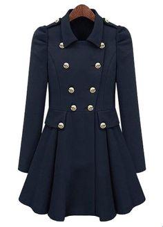Navy Pleated Long Sleeve Buttons Ruffles Coat - Sheinside.com