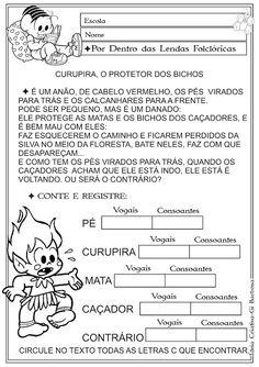 Atividade Vogais e Consoantes / Temática Folclore / Curupira