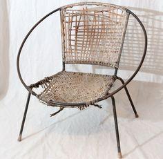 Mid Century Wicker Egg Hoop Chair Salterini Style Circle Chair