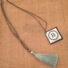Betsy Pittard Pyrite Beads with a Mint Tassel and Oxidized Chain Necklace