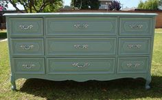 SHABBY CHIC/FRENCH PROVINCIAL STYLE,DRESSER 9 DRAWER ROYAL TEAL BLUE