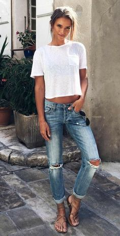 db8ddf160 30 Fresh Summer Outfit Ideas To Start Wearing Now how to style a pair of  rips   white tee sandals The post 30 Fresh Summer Outfit Ideas To Start  Wearing Now ...