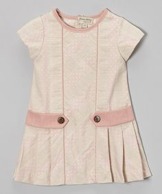 Take a look at this Pink Jacquard Pleated Cap-Sleeve Dress - Infant, Toddler & Girls by P'tite Môm on #zulily today!