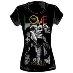 Bob Marley - One Love Stripes Womens T-Shirt in Black - List price: $21.00 Price: $10.26  #ZionRootswear