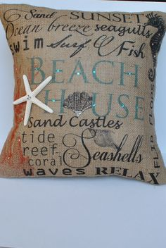 Beach House Beach themed burlap pillow by MonMellDesigns on Etsy, $46.00