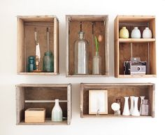 29 Beautiful DIY Ideas For Apartments – Apartment Decorating Pictures, I want to make the pallet wall with photos and I love the wood crates turned into shelves, what a GREAT idea!