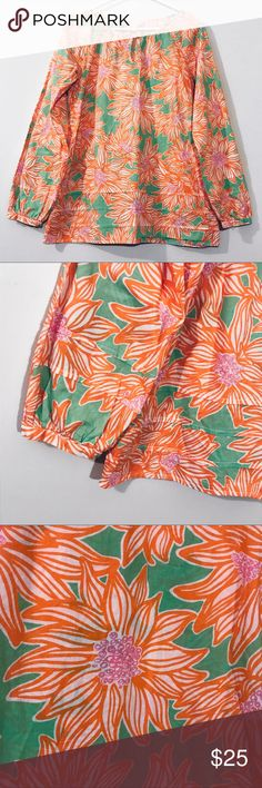 """Lilly Pulitzer M Jemma Tunic Top Floral Blouse +beautiful condition +no stains, holes, piling etc. +buttons closure at chest  Measurements: Bust- 19"""" laying flat or 38"""" around Length- 27""""  Color: Avocado Green Crush Lilly Pulitzer Tops Blouses"""
