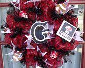 University of Georgia -UGA Fan Deco Mesh Door Wreath