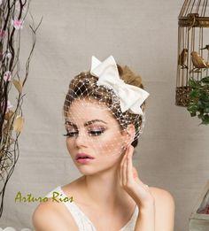 Cute ivory Bridal Bow with veil Wedding hat by ArturoRiosBridal, $149.00