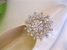 Rhinestone Shoe ClipsCrystal Bridal Wedding AccessorySet by ctroum, $32.00