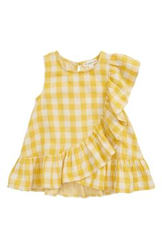 shipping and returns on Tucker + Tate Gingham Ruffle Top (Toddler Girls, Little Girls & Big Girls) at . A frill stretches all the way around the swingy hem and up one sleeve of a fun, fluttery top made from sunny gingham. Kids Dress Wear, Little Girl Dresses, Girls Dresses, Nordstrom Baby Girl, Toddler Girl Style, Toddler Girls, Kids Dress Patterns, Baby Frocks Designs, Kids Frocks