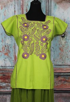 Lime Green Multi Color Hand Embroidered Mayan Huipil Chiapas Mexico Hippie Boho #Handmade #Huipiltunic