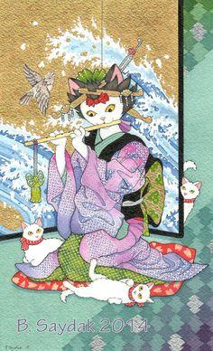Ukiyoe Kimono Cat tarot card Judgement 78Tarot par BlissAndKittens