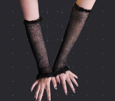 Long black or white fishnet lace gloves / arm warmers
