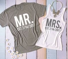 MR and MRS tee shirt and tank top set. by BrideAndEntourage