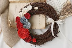 paper rose wreath by mamwene on Etsy
