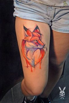 Картинки по запросу geometric fox tattoo