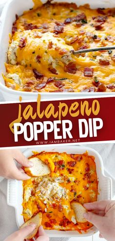 Get your tastebuds ready for this cheesy and spicy Jalapeno Popper Dip. This recipe will be a great addittion to your selection of dips on gameday. This yummy appetizer is best served warm with baguettes, crackers and tortilla chips. This is definitely comfort food with a kick!
